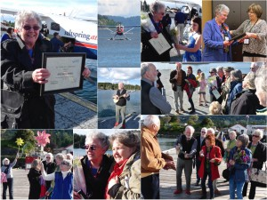 Pat Desbottes returns to Ganges with the BCHPCA Volunteer of the Year Award on May 9th, 2014. Accompanied by Kathleen and greeted by Valdy and a celebratory chorus of Salt Spring Hospice volunteers, Pat was festooned with flowers and song. Thanks to Salt Spring Air for generously gifting her flight her over and back.